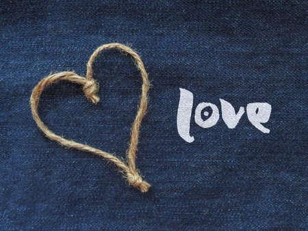 Sign heart of twine in denim Zdjęcie Seryjne