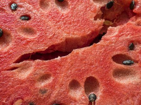 Fresh ripe red sliced watermelon. Texture, fragment