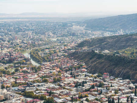 Panorama of old town Tbilisi, Georgia. Top view. Stok Fotoğraf
