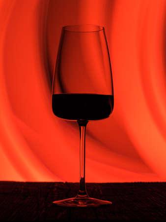 Wine glass on a dark colored background. Glare in the glass, minimalistic beautiful concept. Фото со стока - 135731544