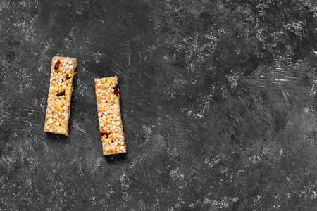 Anti-aging snacks, healthy food. Snack products with anti-aging ingredients. Whole-cereal fitness bar