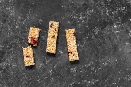 Anti-aging snacks, healthy food. Snack products with anti-aging ingredients. Whole-cereal fitness bar Фото со стока - 137943418