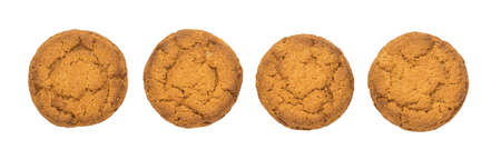 Isolated healthy oatmeal cookies on a white background with clipping path. Top view. 写真素材