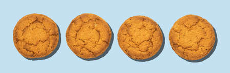 Isolated healthy oatmeal cookies on a blue background  . Top view