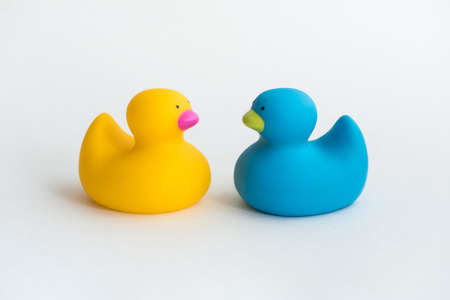 Toy yellow rubber duck isolated on white background. Opposition symbol, political struggle and anti-racism concept.