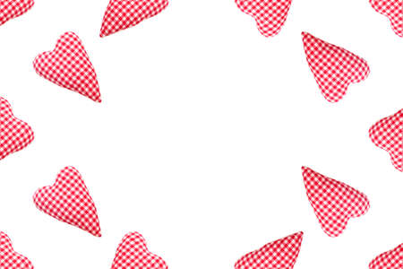 Valentines day background. Top view soft red heart pads on white background. Love concept flat lay. Copy space
