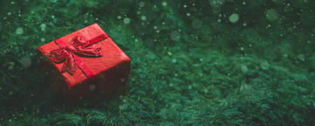 Festive winter concept banner. Red gift box on a fabulous green background with bokeh. New Year, Christmas or Valentines day background. Copy space Фото со стока