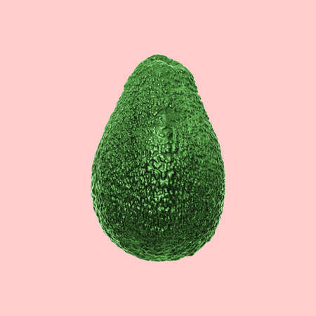 Green avocado fruit Isolated on pink background with clipping path. Pop art minimalistic design. Creative healthy fats concept