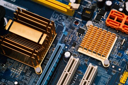 Computer motherboard. Computer circuit board close-up. Electronic technology. Computer equipment and modern technology background