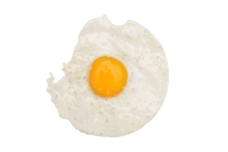 Fried egg. Top view fried eggs with yellow yolk on a white background. Food for the morning breakfast