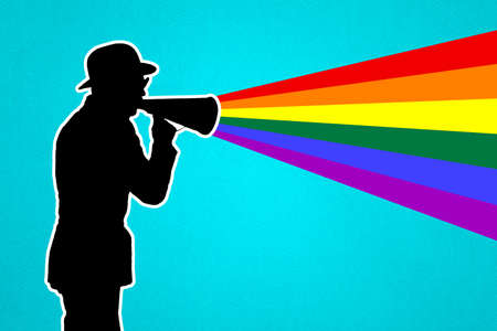 Silhouette of a man with a loudspeaker. A man shouts into a megaphone. The colors of the rainbow and the LGBTQ community. The concept of LGBT. Imagens