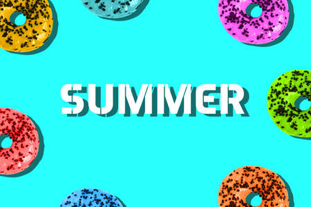 Colorful donuts on a colored background and summer text. Minimum summer template. Banco de Imagens