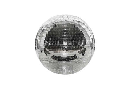 Disco ball isolated on a white background. A spherical object with a mirror surface. Mirror ball. Concept of a night club party, club life.