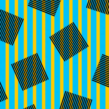 Geometric colored shapes. Yellow and blue lines with black squares. Minimal retro style, pop art.