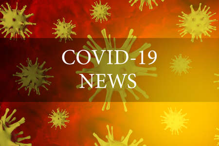Coronavirus news. Latest news from the covid-19 pandemic. Banner with a header for a website with bacteria virus. 3D render
