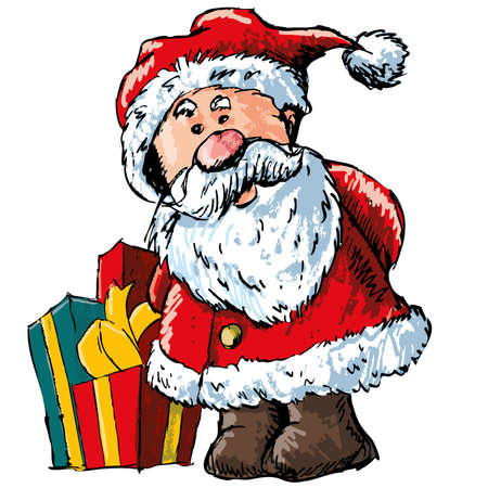 Cartoon Santa with gifts