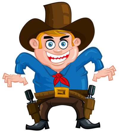 one people: Cartoon cowboy ready to draw