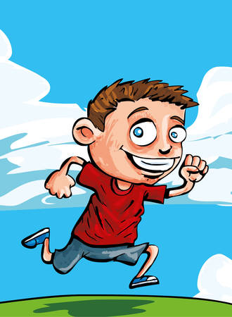 Cartoon boy running on the grass Vector