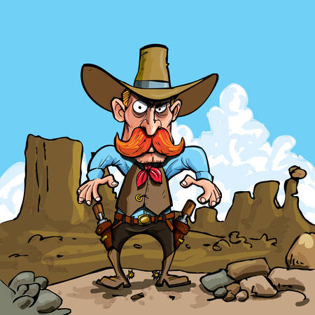 badlands: Cartoon cowboy ready to drawin the badlands