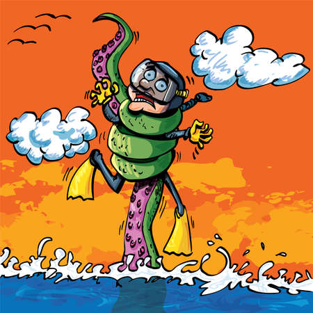 attacked: Cartoon Diver attacked by tentacle from a hidden undersea monster