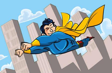 Superhero flying through a cityscape