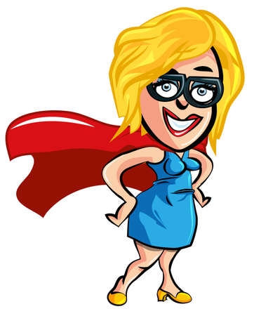 superhero cape: Cartoon woman office worker with superhero cape
