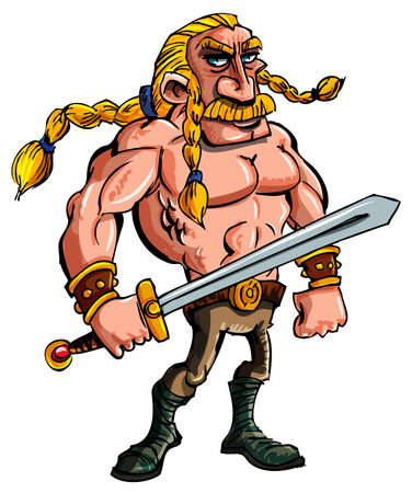 cartoon warrior: Viking cartone animato con una spada e la treccia di capelli biondi