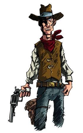 wild grass: Ilustraci�n media de una hierba del Diablo Cowboy se�ala su tirador seis