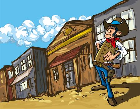 western town: Cartoon cowboy in a western old west town looking down the street Illustration