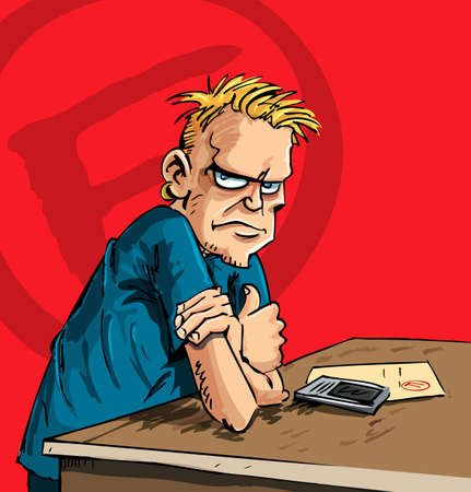 wit: Cartoon teenager with a mobile phone and a report wit a F grade Illustration