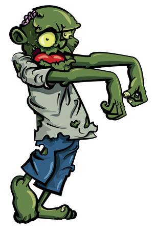 sticking: Cartoon zombie isolated on white. His brains are sticking out of his head