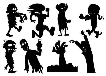 Collection of silhouette halloween characters including zombies and vampires Stock Vector - 9100589