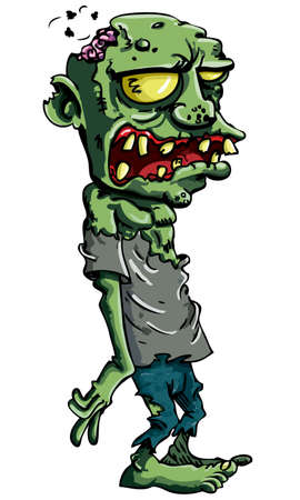 cartoon zombie: Cartoon zombie isolated on white. His brains are sticking out of his head
