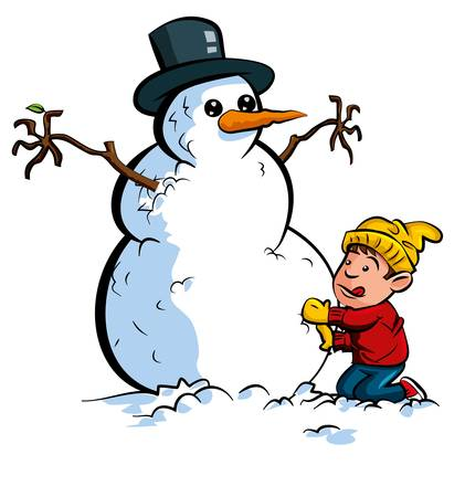 outdoor activities: Cartoon boy building a snowman with a hat