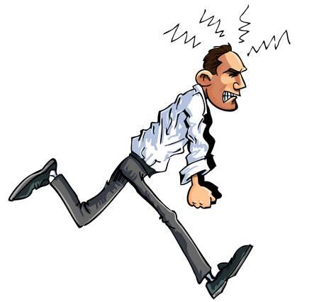 impatient: Caricature de traque homme furieux, les poings serr�s