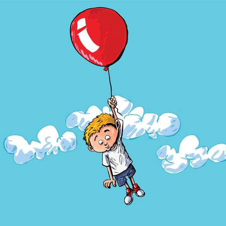 Cartoon of a boy hanging onto a baloon. A cloudy blue sky behind him