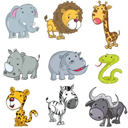 the zoo: Conjunto de animales lindos dibujos animados. Rinoceronte, Le�n, jirafas, elefantes, hipop�tamo, serpiente, leopardo, cebra y b�falo Vectores