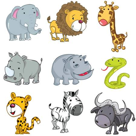 illustration zoo: Set of cute cartoon animals. A rhino,lion,giraffe,elephant,hippo,snake,leopard,zebra and buffalo Illustration