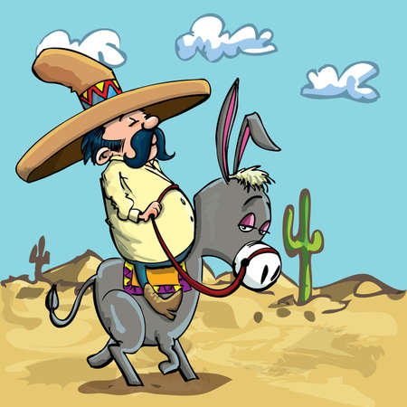 Cartoon Mexican wearing a sombrero riding a donkey in the desert Vector