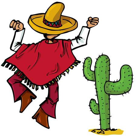 poncho: Cartoon Mexican wearing a huge sombrero islolated one white