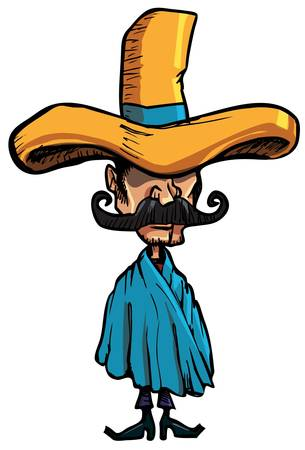 bigote: Caricatura mexicana vistiendo un enorme sombrero islolated uno blanco