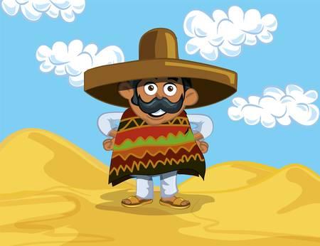 poncho: Caricatura mexicana con un gran sombrero iin el desierto