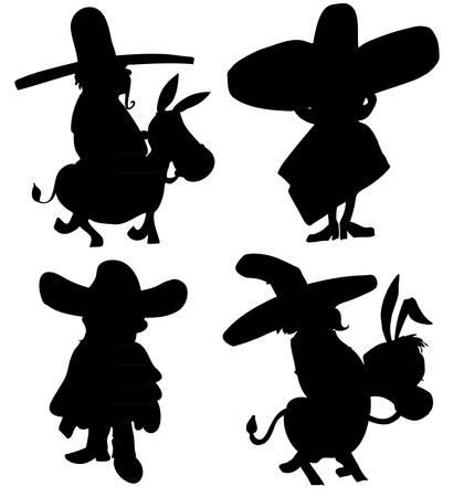 poncho: Sillhoette de dibujos animados de personajes mexicanos con sombreroes