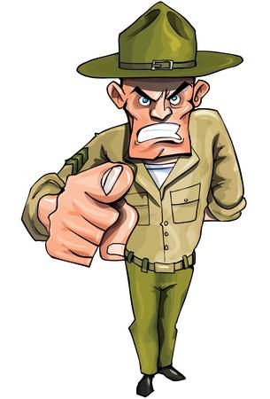 displeased: Drill sargaent pointing his finger isolated on white Illustration