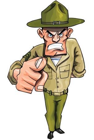 Sargaent de taladro apuntando con su dedo aislado en blanco Ilustración de vector