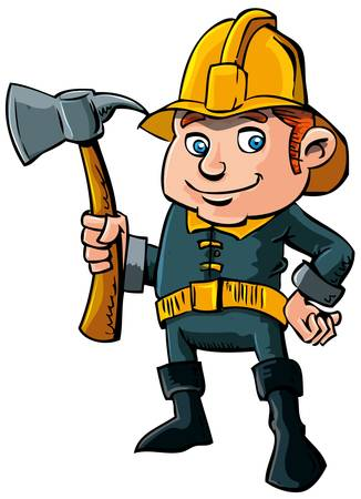 child safety: Cartoon fireman with axe
