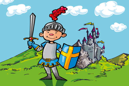 courageous: Cartoon boy knight in front of a castle with feilds and a blue sky Illustration