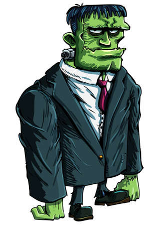 cartoon frankenstein: Cartoon Frankenstein moster as a boss. He is in a suit Illustration