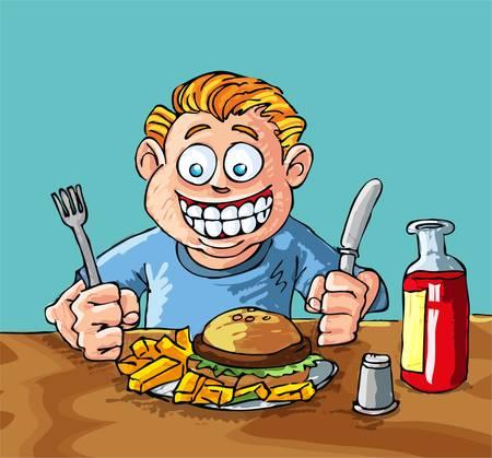 viande couteau: Caricature de gar�on environ pour manger un hamburger et fran�ais fries