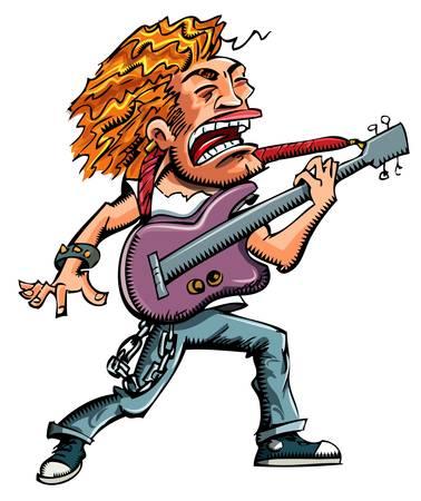 drawn metal: Cartoon of a heavy metal singer witha guitar